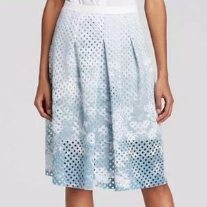 Elie Tahari Floral Print Perforated A-line Skirt